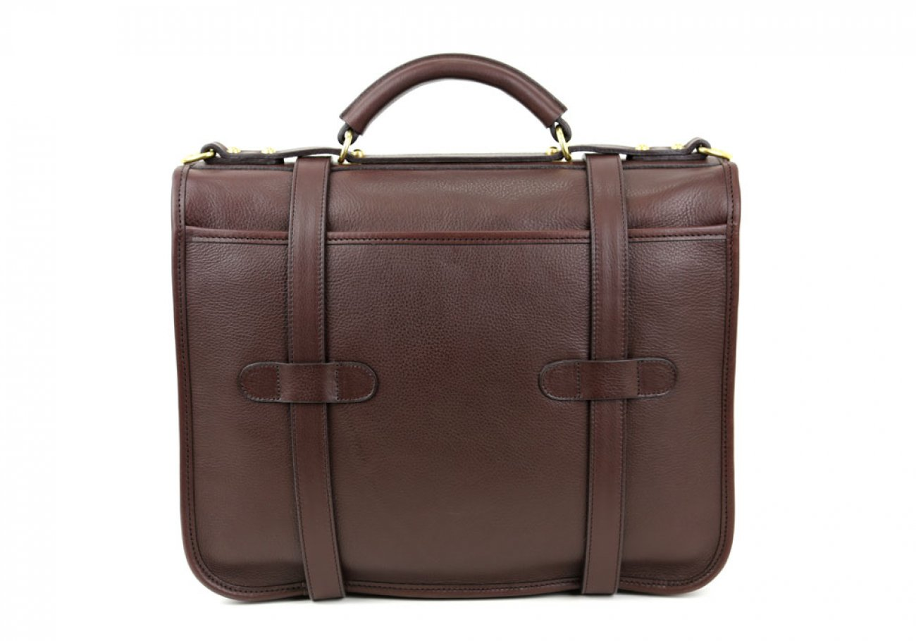 Chocolate Leather Bound Edge English Satchel Frank Clegg Made In Usa 5