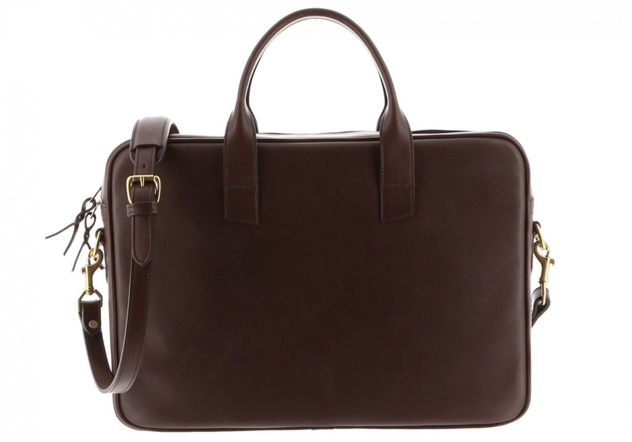 Chocolate Leather Computer Briefcase Frank Clegg 1
