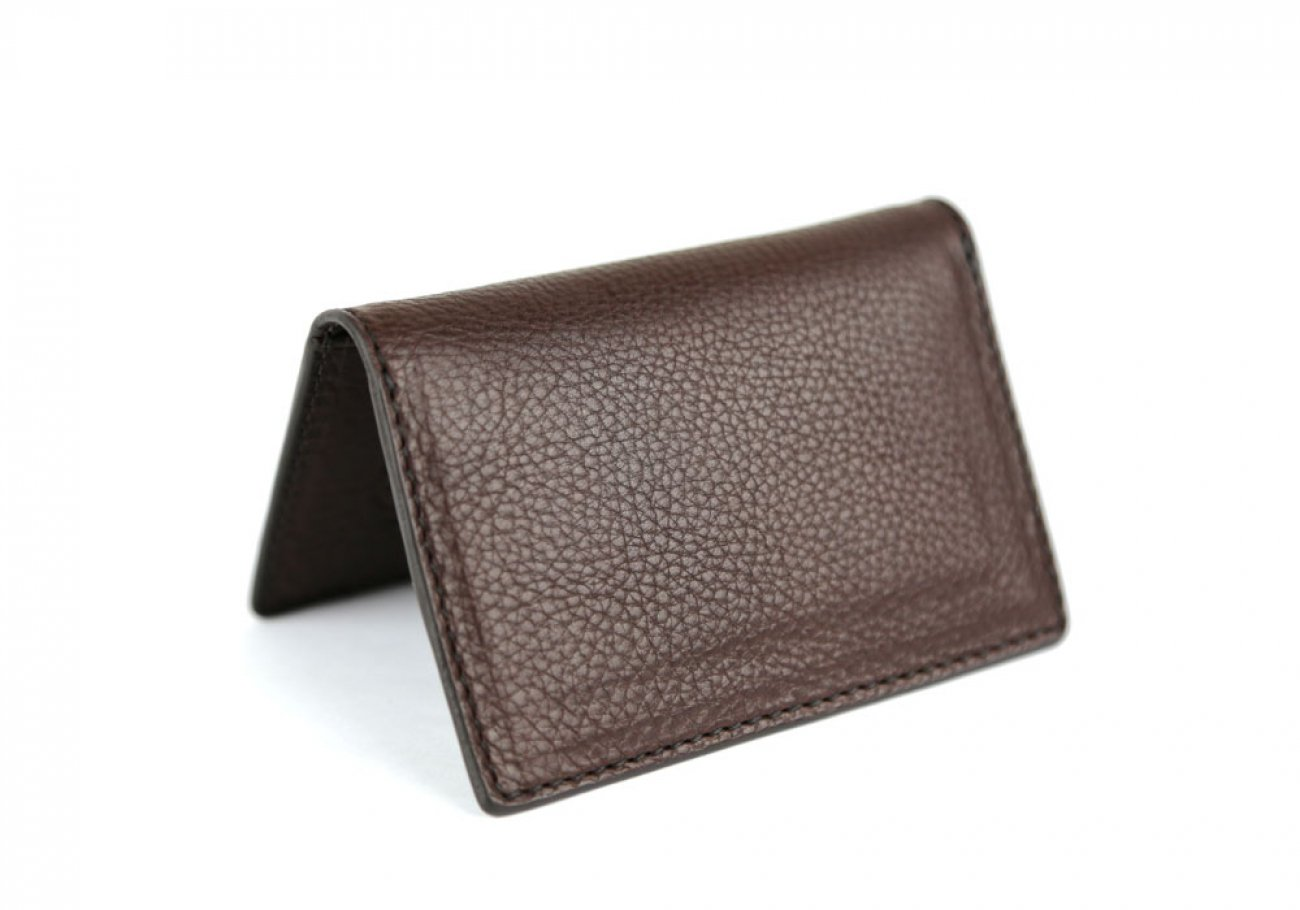 Chocolate Leather Folding Card Wallet Frank Clegg Made In Usa 1