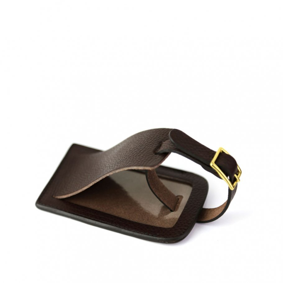 Chocolate Leather Luggage Tag Frank Clegg Made In Usa 1 Raw