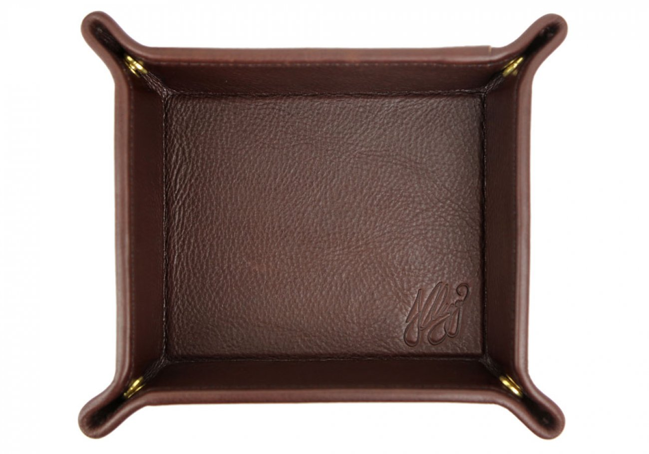 Chocolate Leather Valet Key Tray Frank Clegg Made In Usa 1