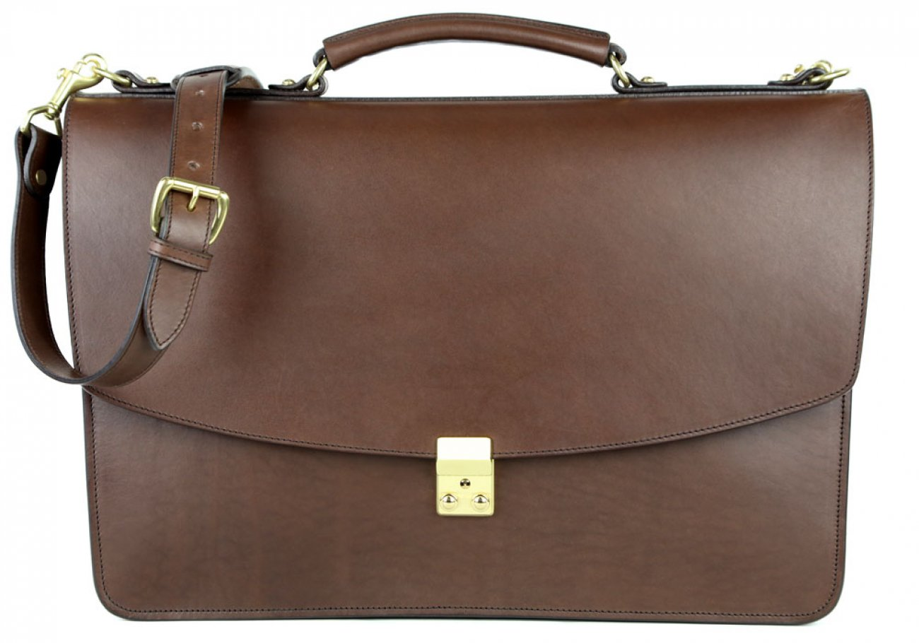 Chocolate Leather Wall Street Briefcase Frank Clegg Made In Usa 2
