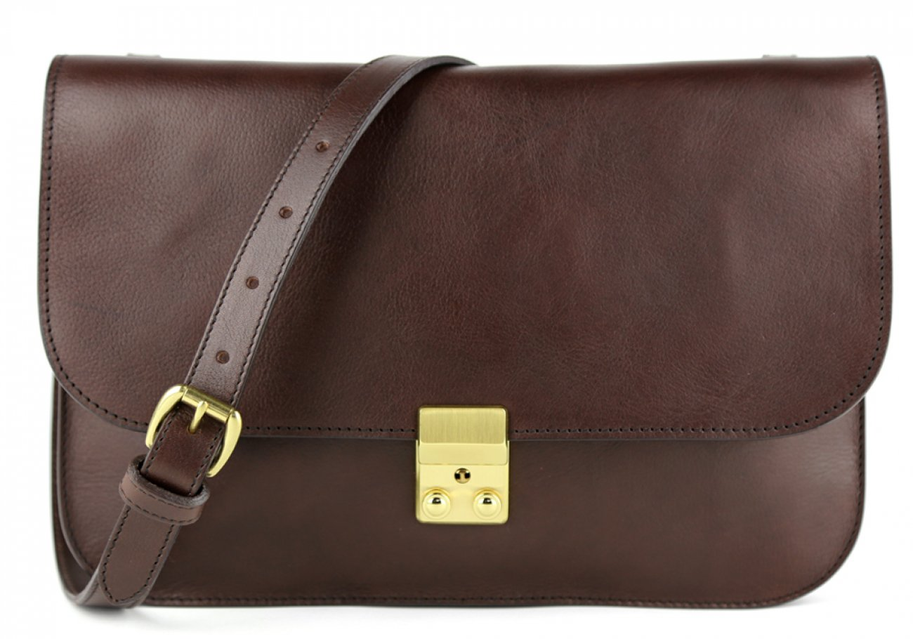 Chocolate Lock Clutch Frank Clegg Made In Usa 1