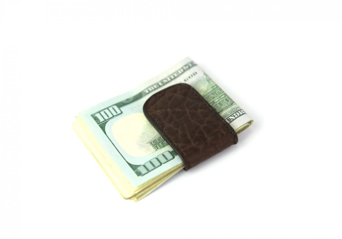 Chocolate Shrunken Leather Money Clip Frank Clegg Made In Usa 1
