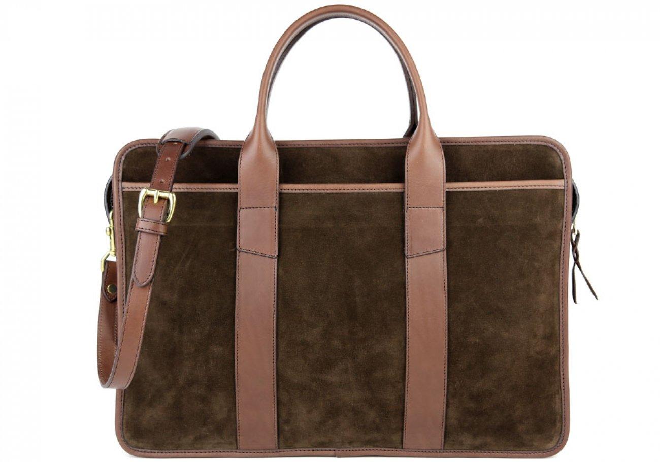 Chocolate Suede Bound Edge Ziptop Briefcase Frank Clegg Made In Usa 2