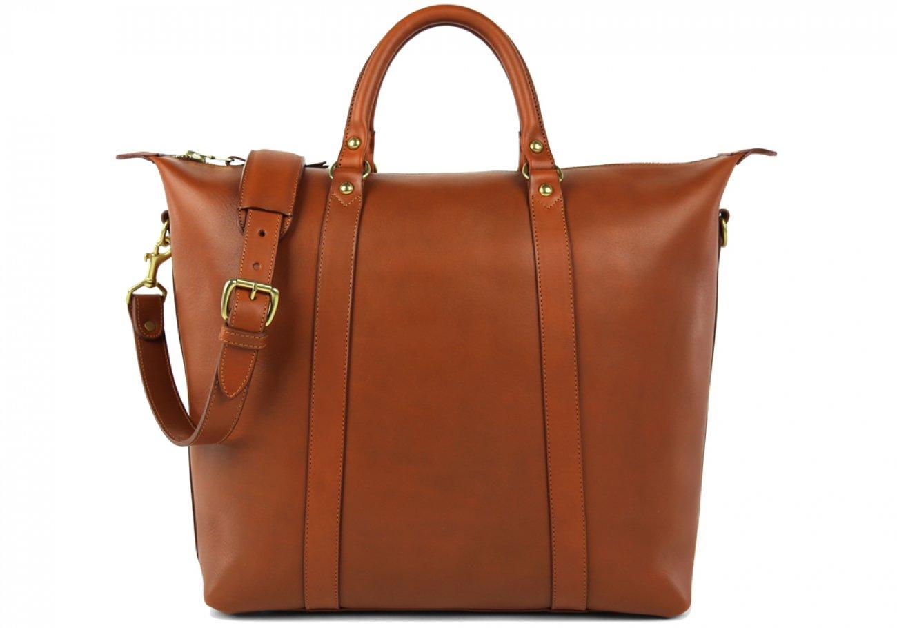 Cognac Zipper Tote Bag 1