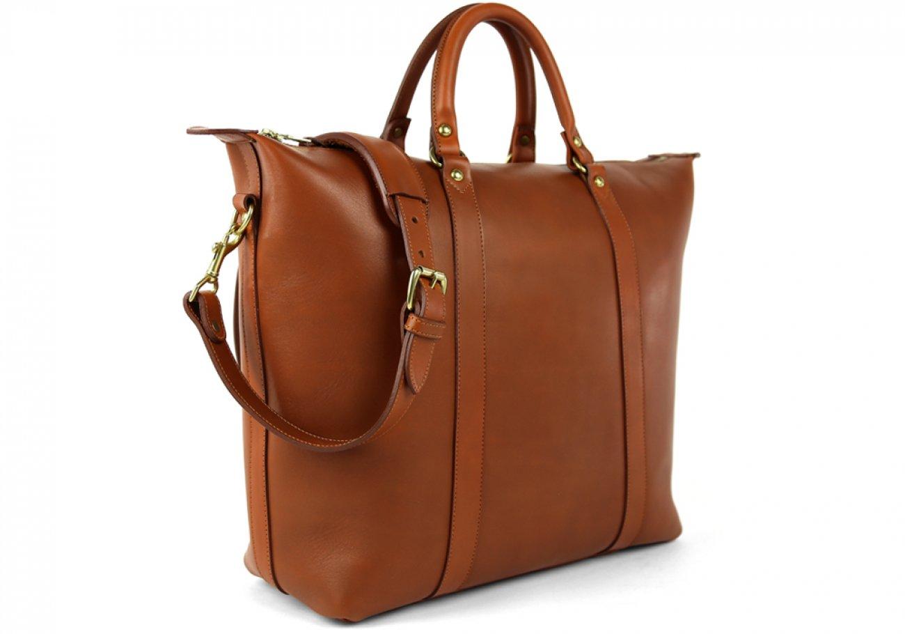 Cognac Zipper Tote Bag 3