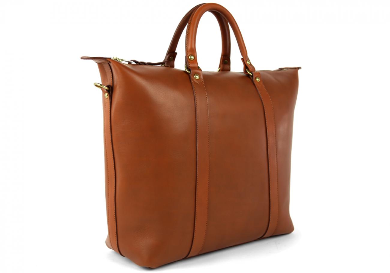 Cognac Zipper Tote Bag 4