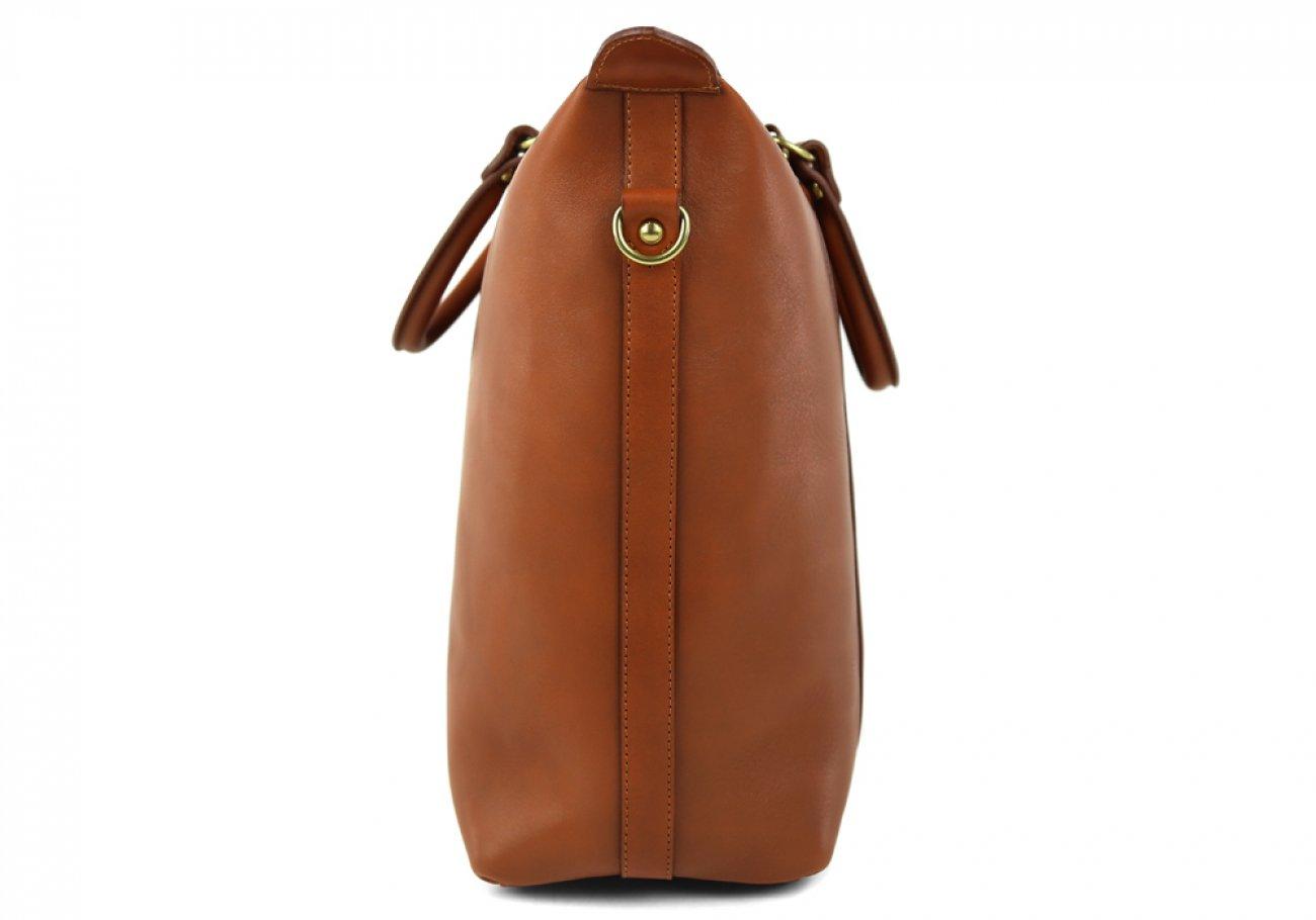 Cognac Zipper Tote Bag 5