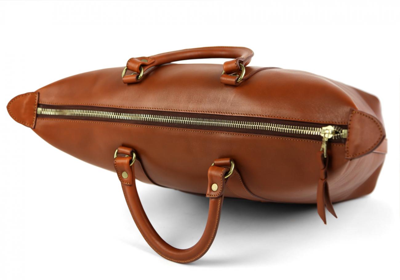 Cognac Zipper Tote Bag 7