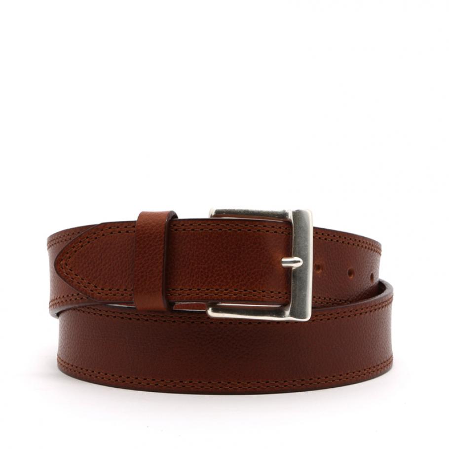 Cognac Double Stitch Wide Leather Belt