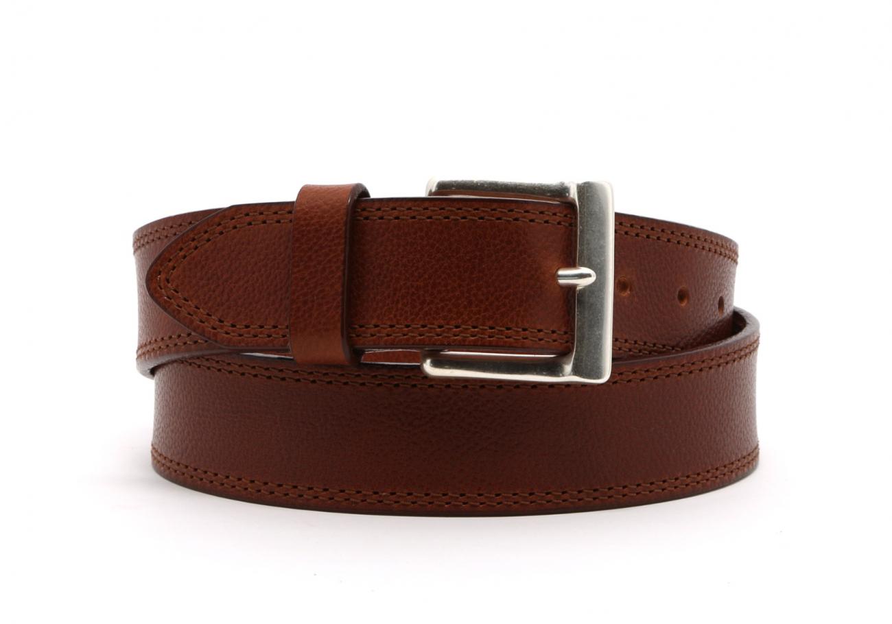 Cognac Double Stitch Wide Leather Belt1 3 4