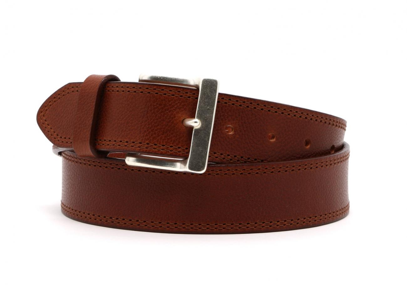 Cognac Double Stitch Wide Leather Belt2 3 3