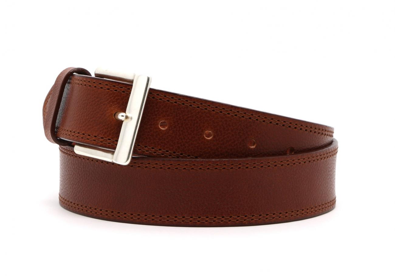 Cognac Double Stitch Wide Leather Belt3 3 3