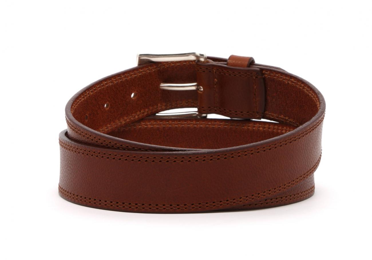 Cognac Double Stitch Wide Leather Belt4 3 3