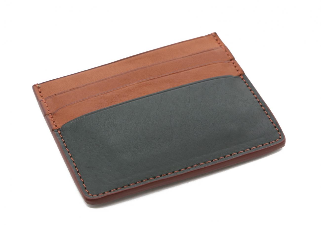 Cognac Green Triple Card Wallet3