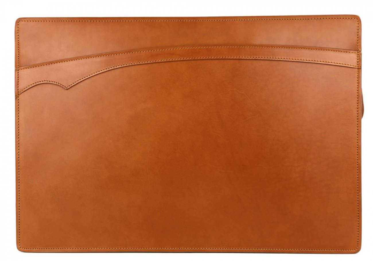 Cognac Harness Belting 15  Leather Zipper Portfolio Case Frank Clegg Made In Usa 1 2