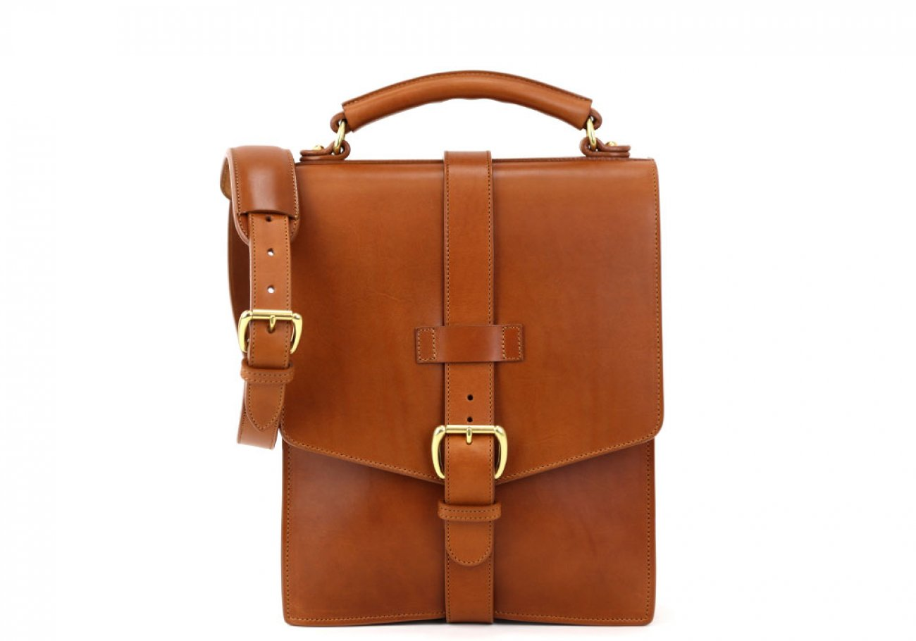 Cognac Harness Belting Leather Buckle Satchel Frank Clegg Made In Usa 1