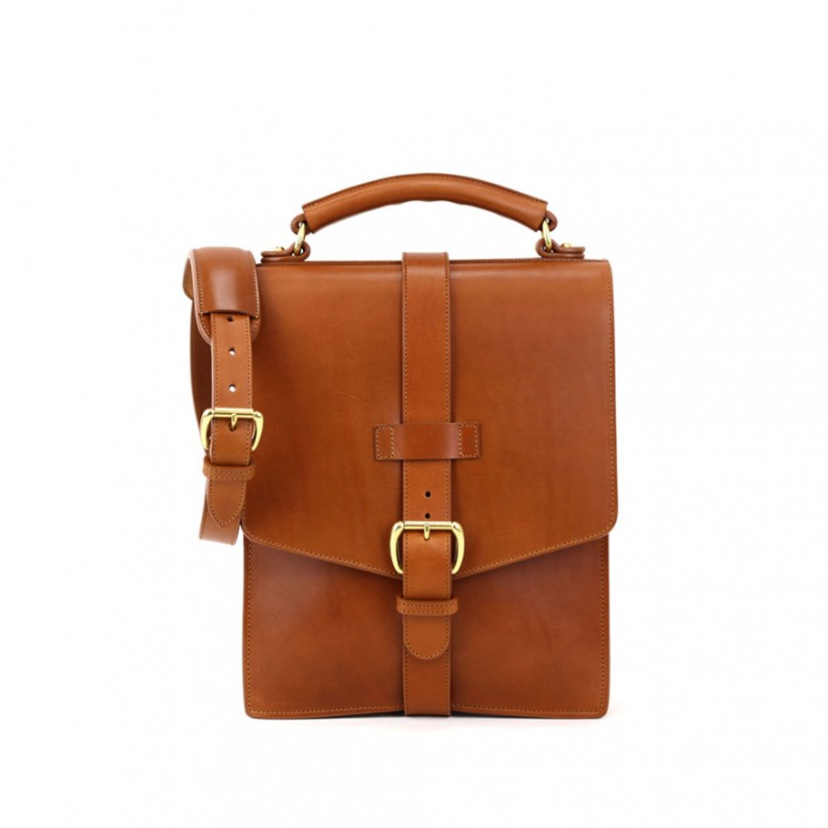 Cognac Harness Belting Leather Buckle Satchel Frank Clegg Made In Usa 1 Raw 2