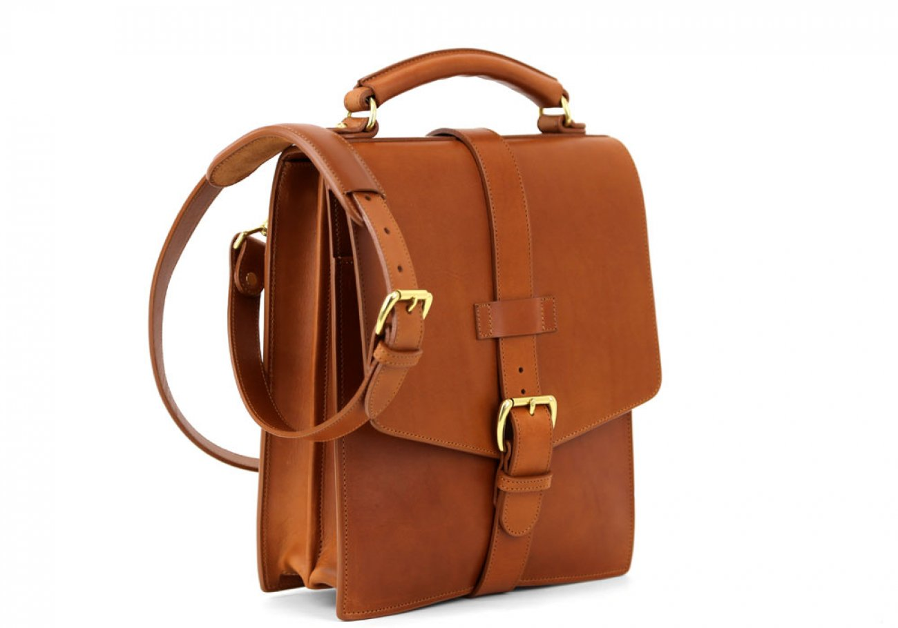 Cognac Harness Belting Leather Buckle Satchel Frank Clegg Made In Usa 2