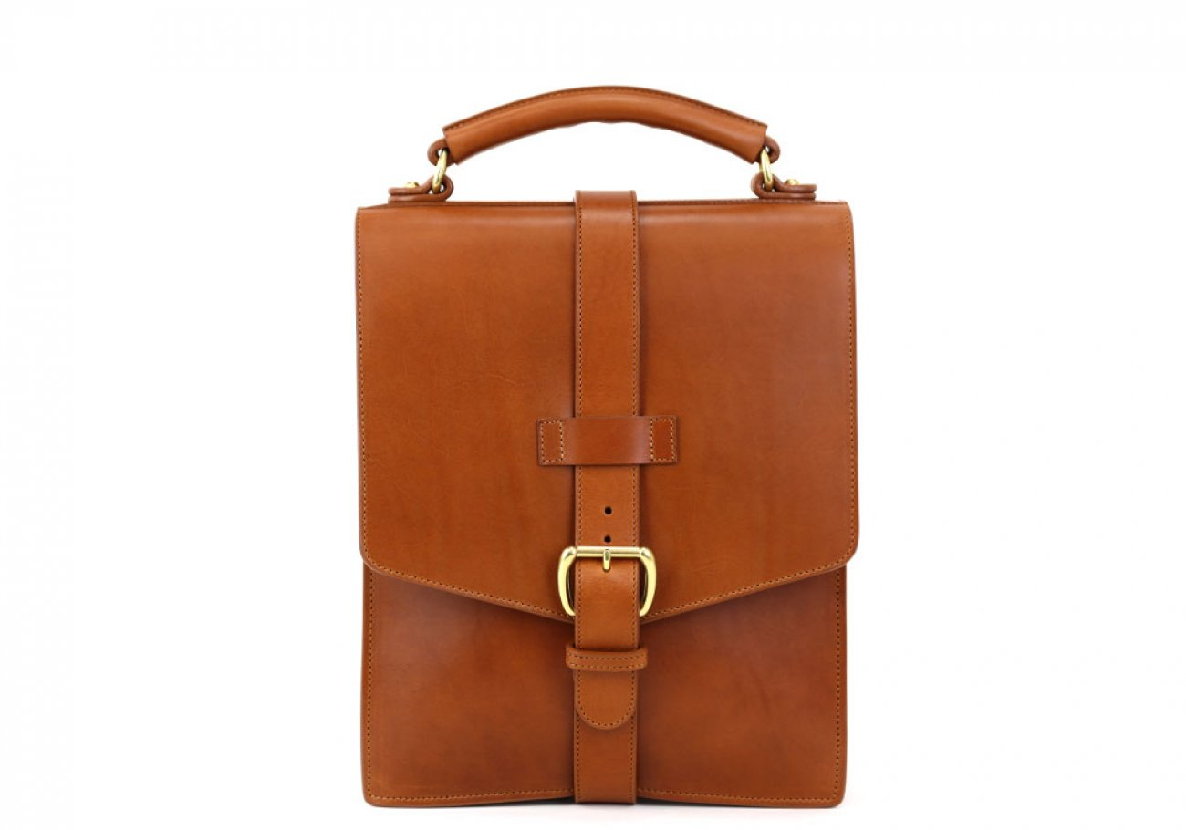 Cognac Harness Belting Leather Buckle Satchel Frank Clegg Made In Usa 3