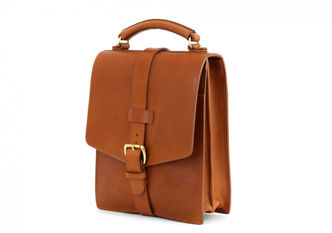 Cognac Harness Belting Leather Buckle Satchel Frank Clegg Made In Usa 4