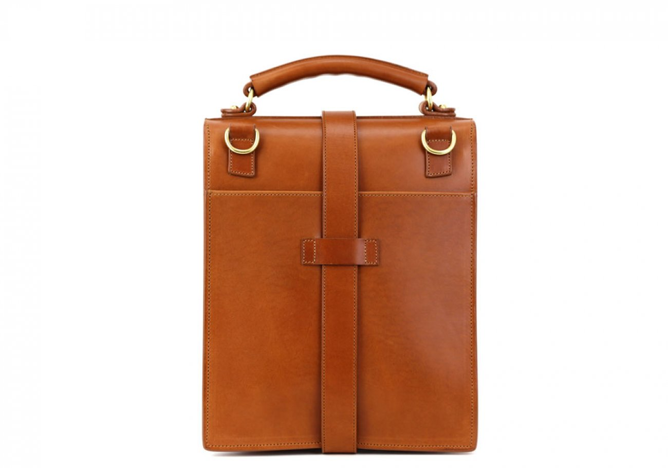 Cognac Harness Belting Leather Buckle Satchel Frank Clegg Made In Usa 6