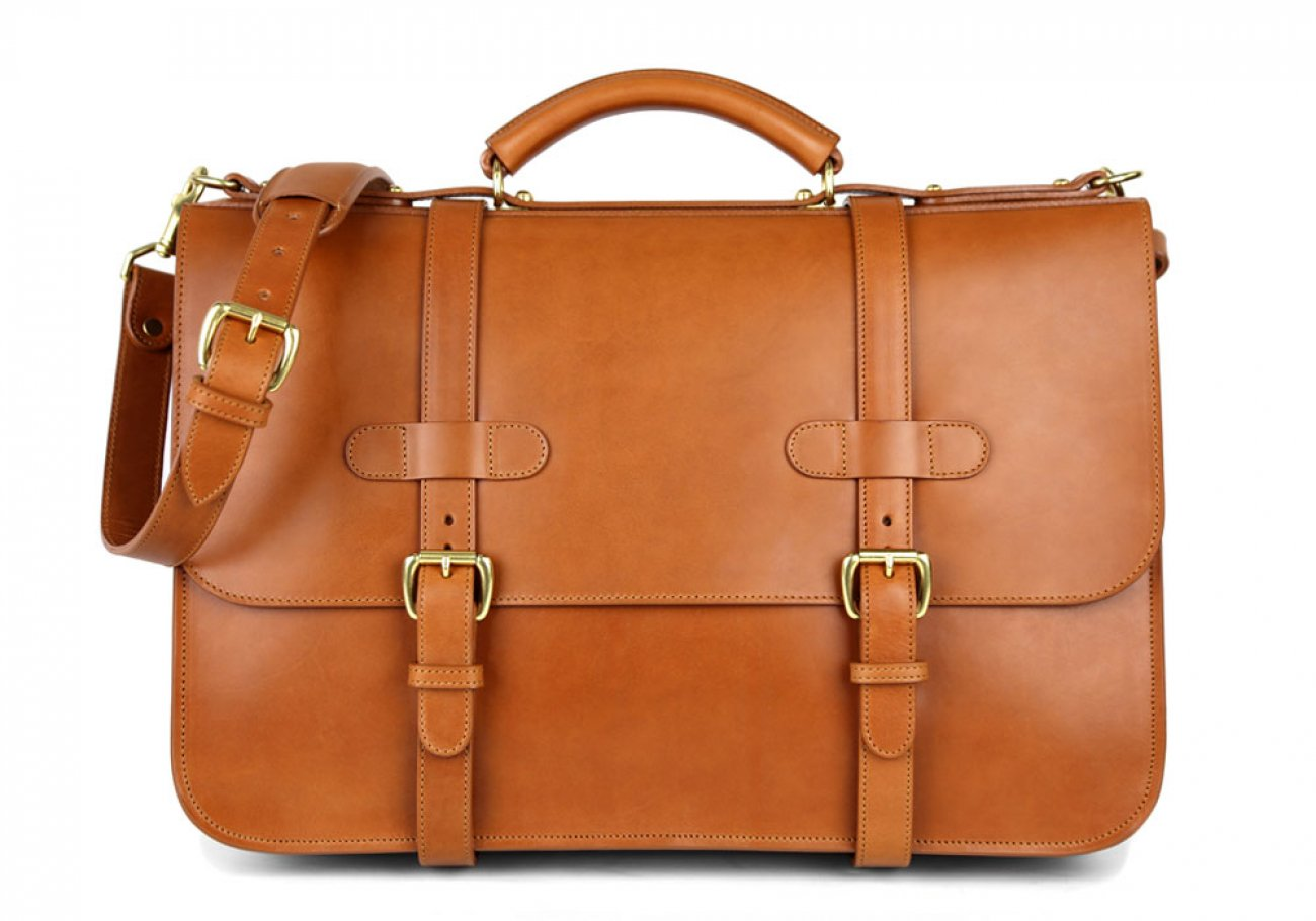 Cognac Harness Belting Leather English Briefcase Frank Clegg Made In Usa 1