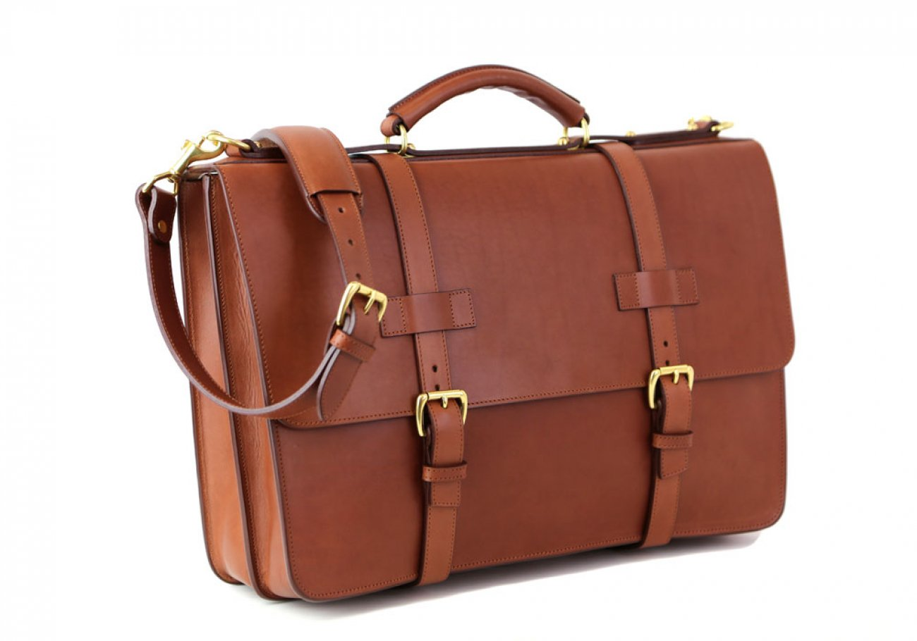 Cognac Leather American Briefcase Frank Clegg Made In Usa 2