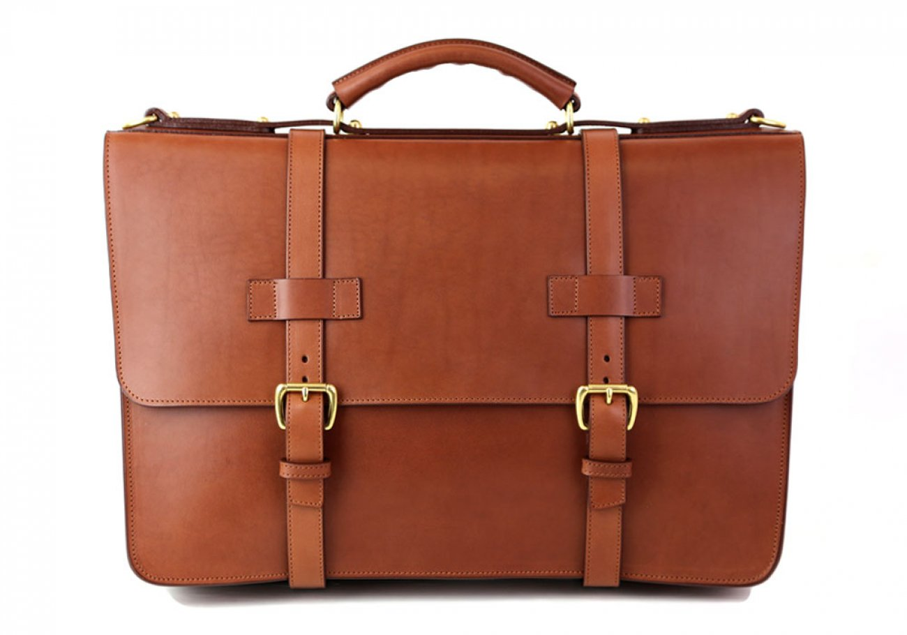 Cognac Leather American Briefcase Frank Clegg Made In Usa 3