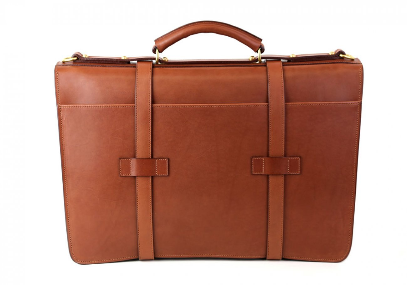 Cognac Leather American Briefcase Frank Clegg Made In Usa 6