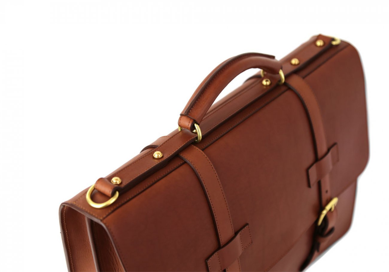 Cognac Leather American Briefcase Frank Clegg Made In Usa 7