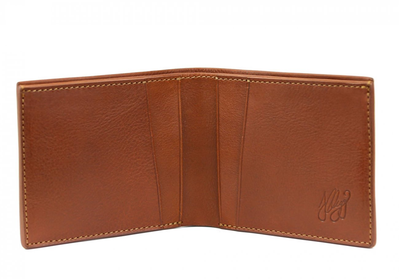 Cognac Leather Bifold Wallet  Frank Clegg Made In Usa 1