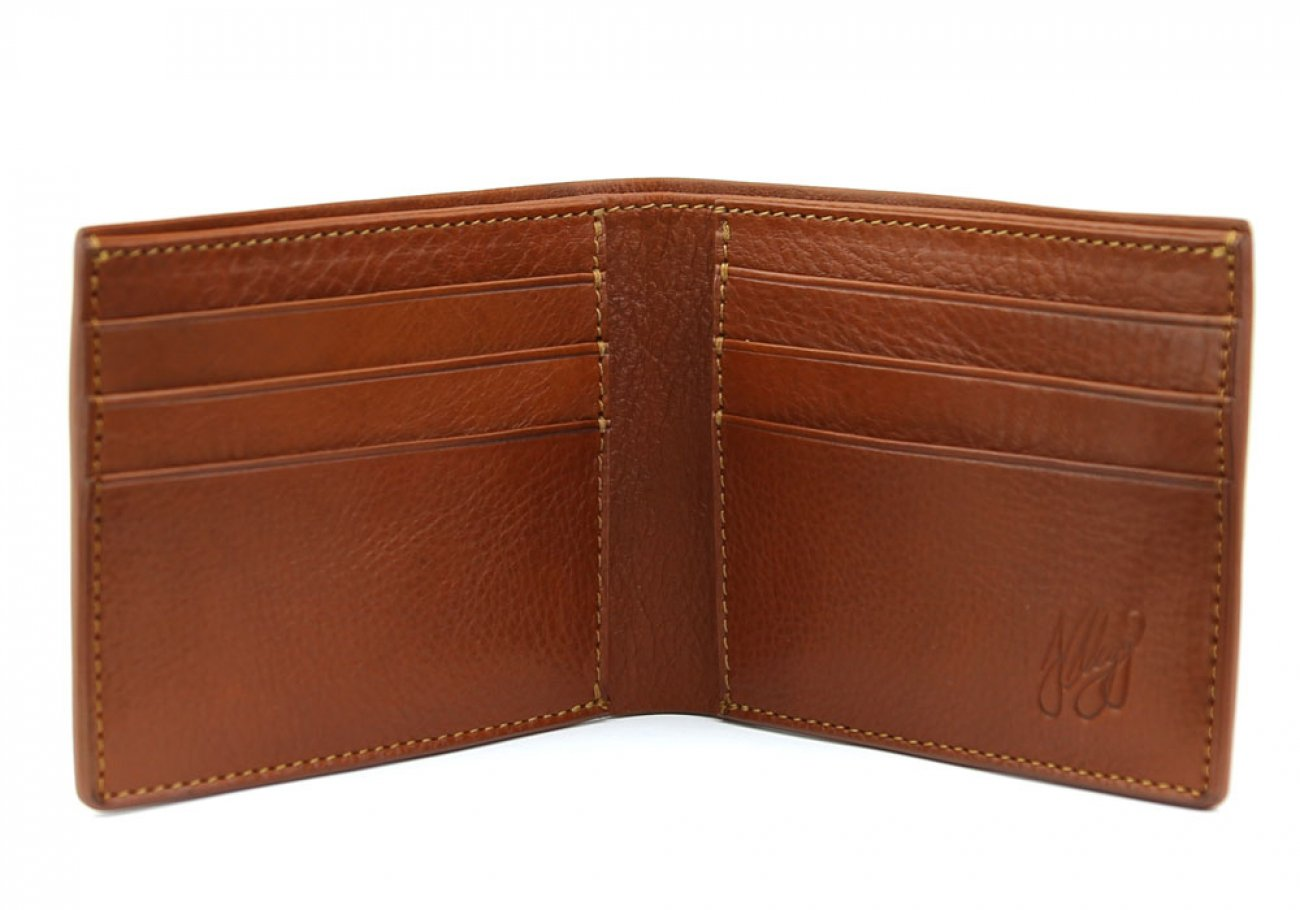 Cognac Leather Bifold Wallet  Frank Clegg Made In Usa 2