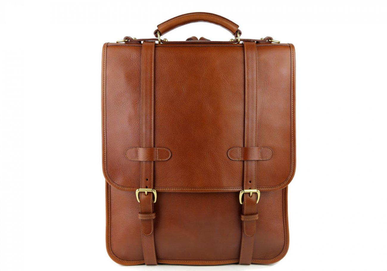 Cognac Leather Buckle Backpack Frank Clegg Made In Usa 1
