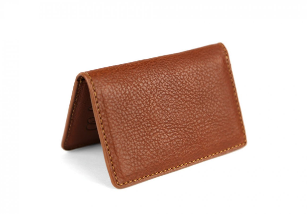 Cognac Leather Folding Card Wallet Frank Clegg Made In Usa 1
