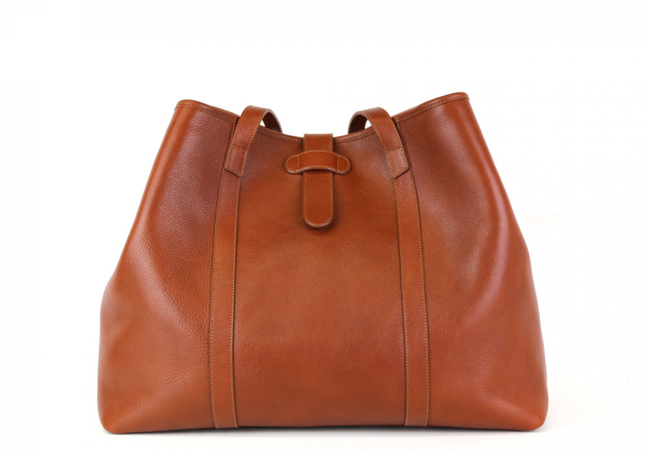 Cognac Leather Large Handbag Tote Frank Clegg Made In Usa 1
