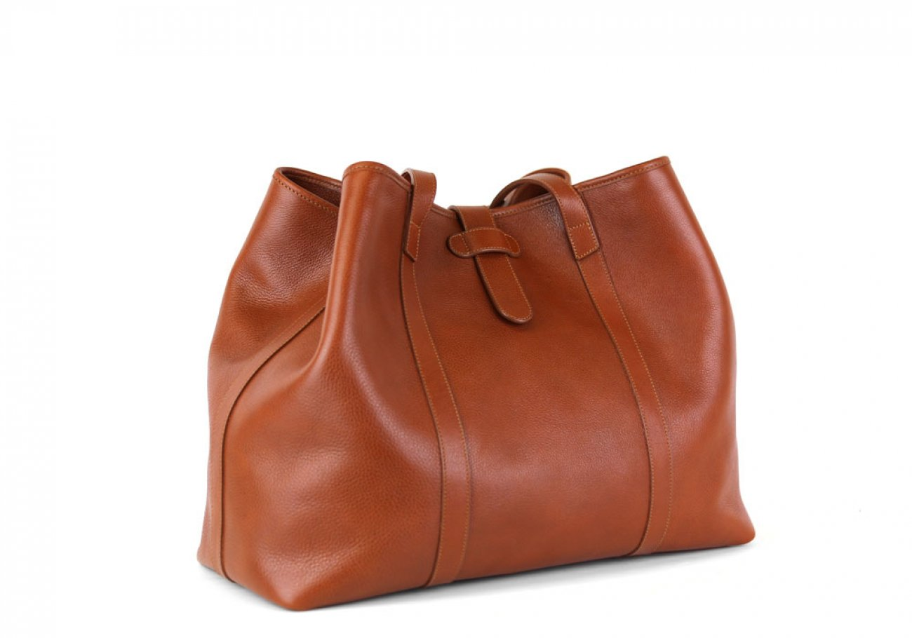 Cognac Leather Large Handbag Tote Frank Clegg Made In Usa 2