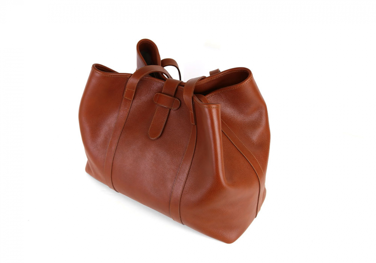 Cognac Leather Large Handbag Tote Frank Clegg Made In Usa 4