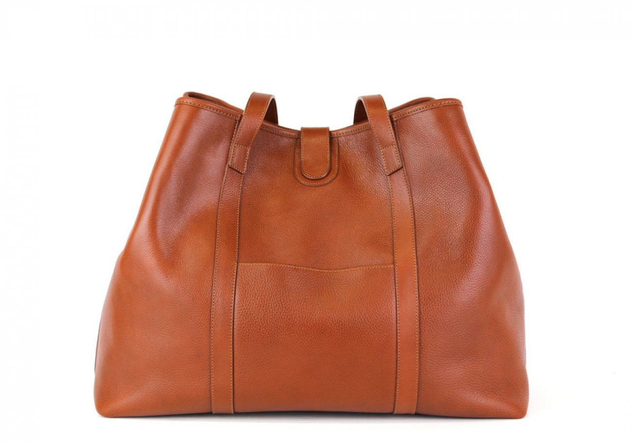 Cognac Leather Large Handbag Tote Frank Clegg Made In Usa 5