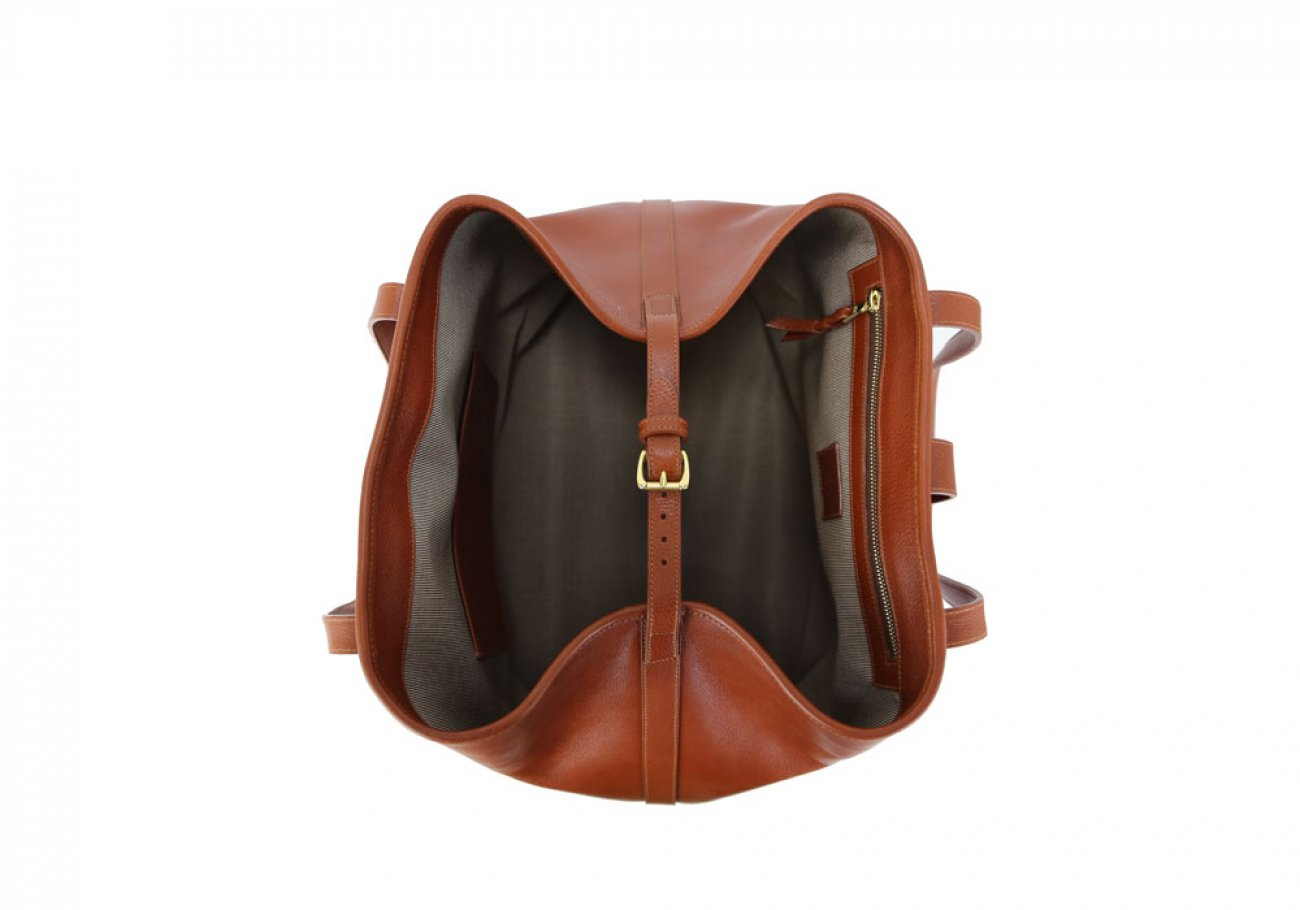 Cognac Leather Large Handbag Tote Frank Clegg Made In Usa 6