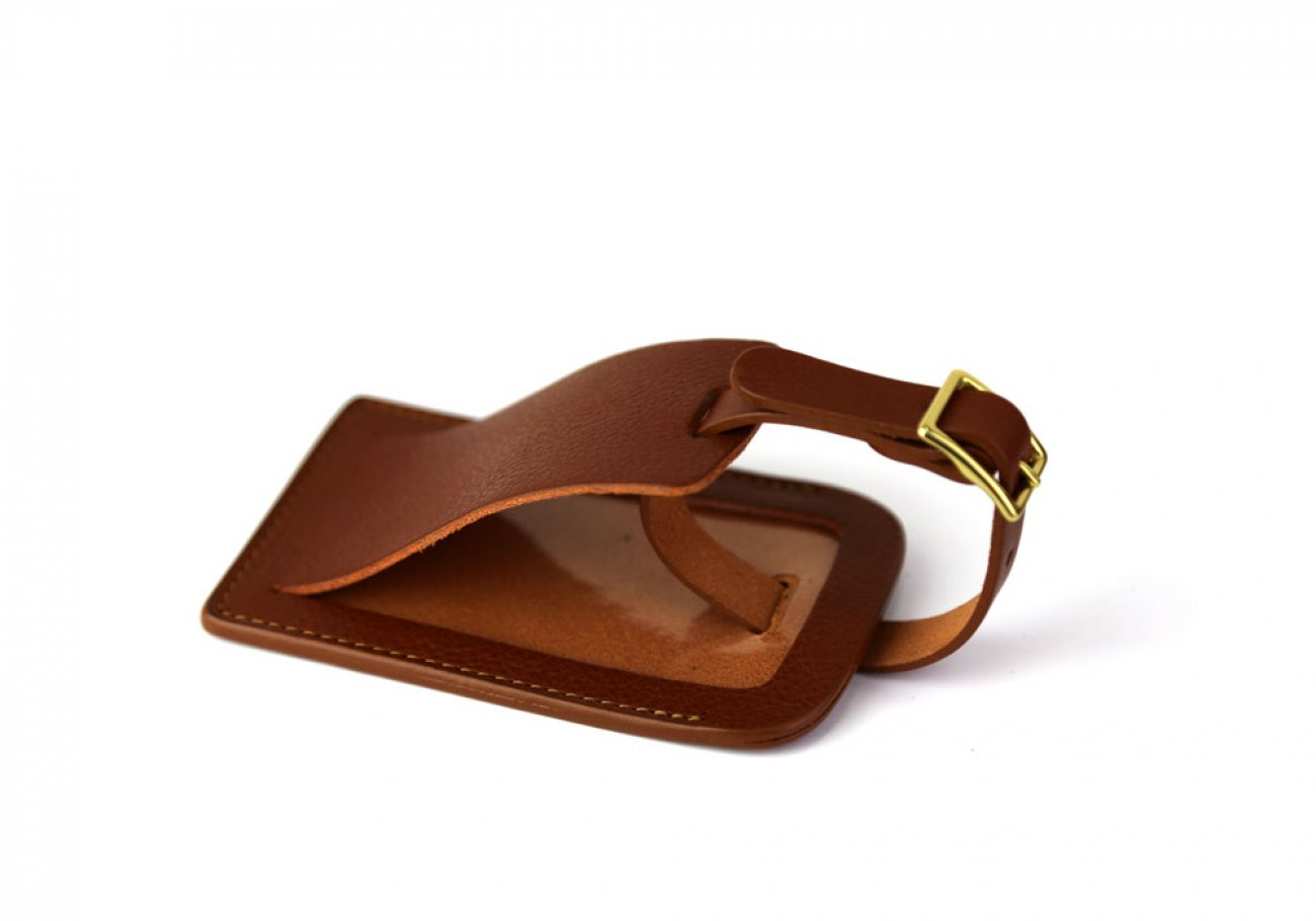 Cognac Leather Luggage Tag Frank Clegg Made In Usa 1