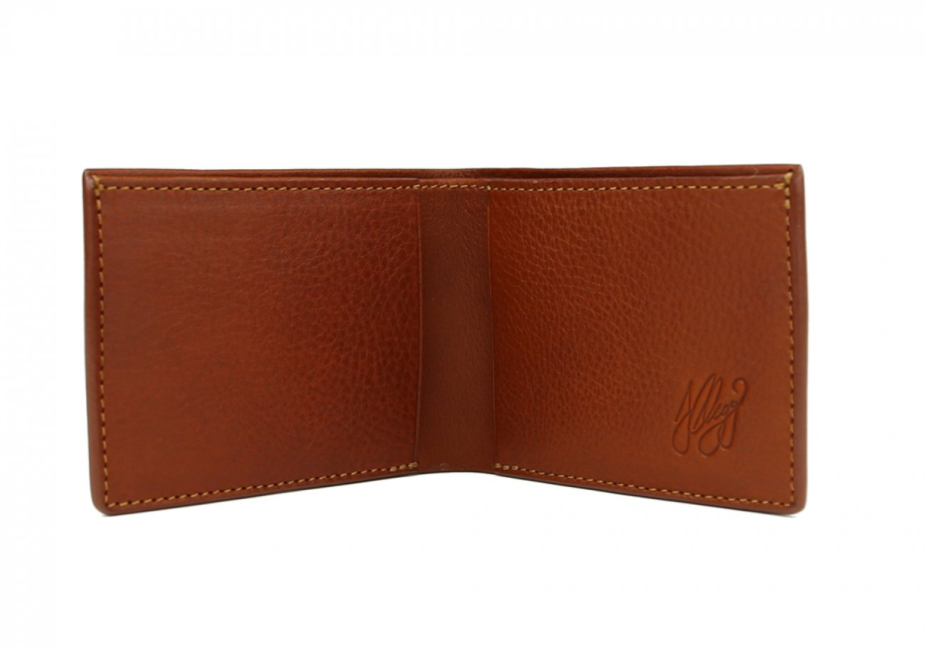 Cognac Leather Slim Wallet  Frank Clegg Made In Usa 2 1