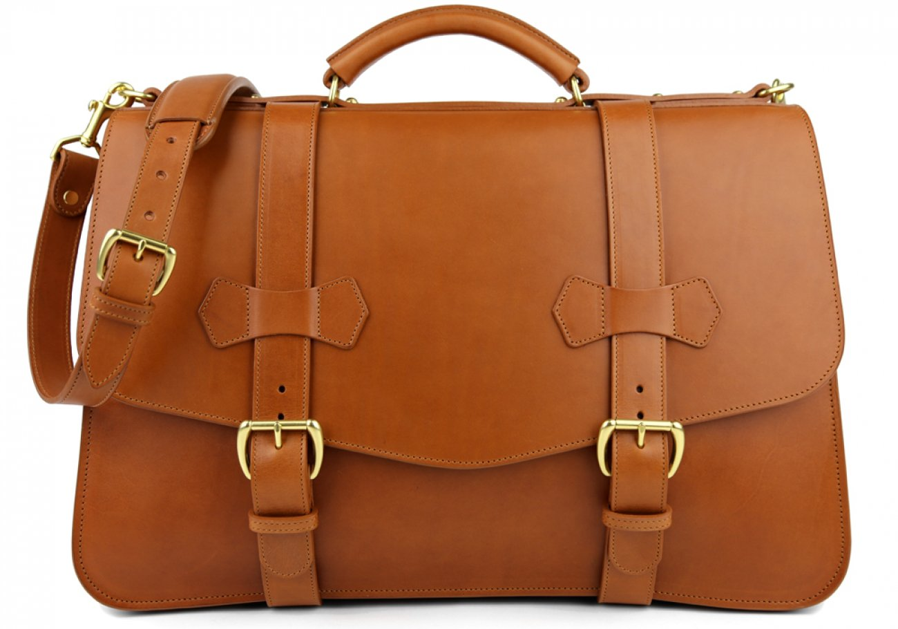 Cognac Leather Small Lawyers Briefcase Frank Clegg Made In Usa 1