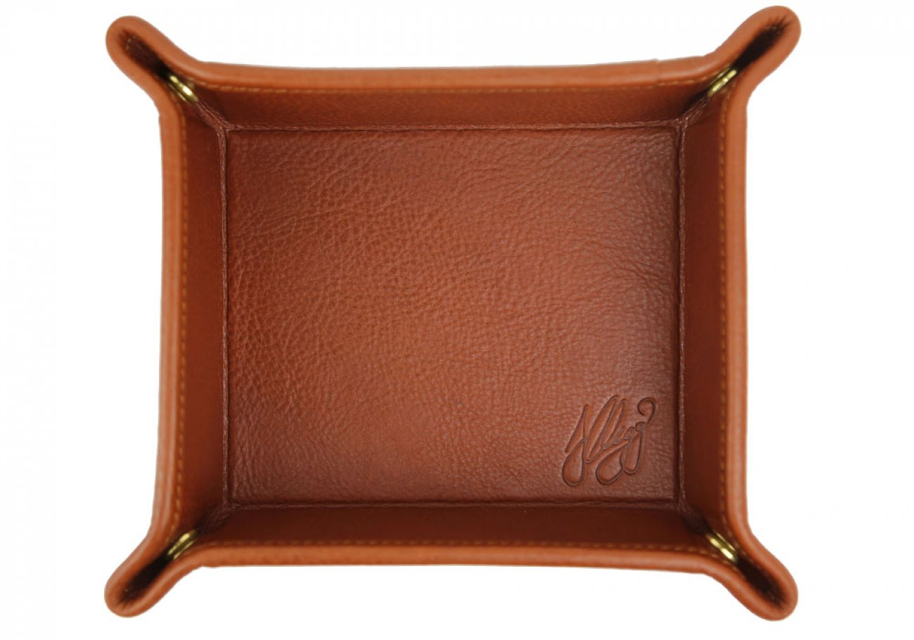 Cognac Leather Valet Key Tray Frank Clegg Made In Usa 1