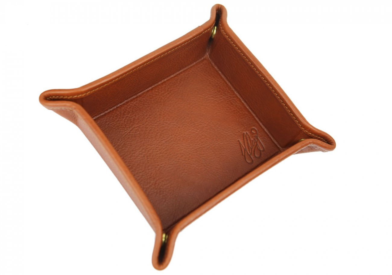 Cognac Leather Valet Key Tray Frank Clegg Made In Usa 2