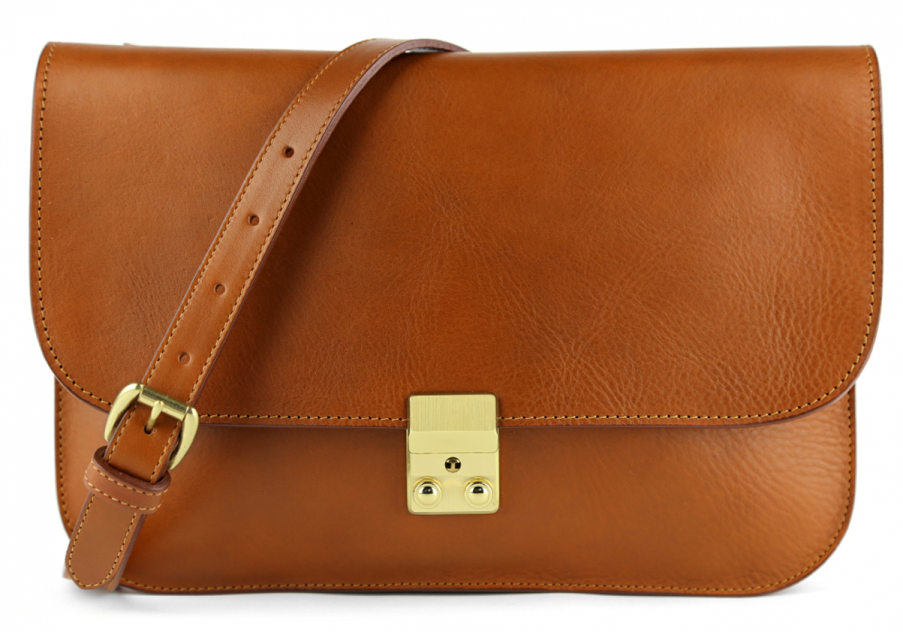 Cognac Lock Clutch Frank Clegg Made In Usa 1