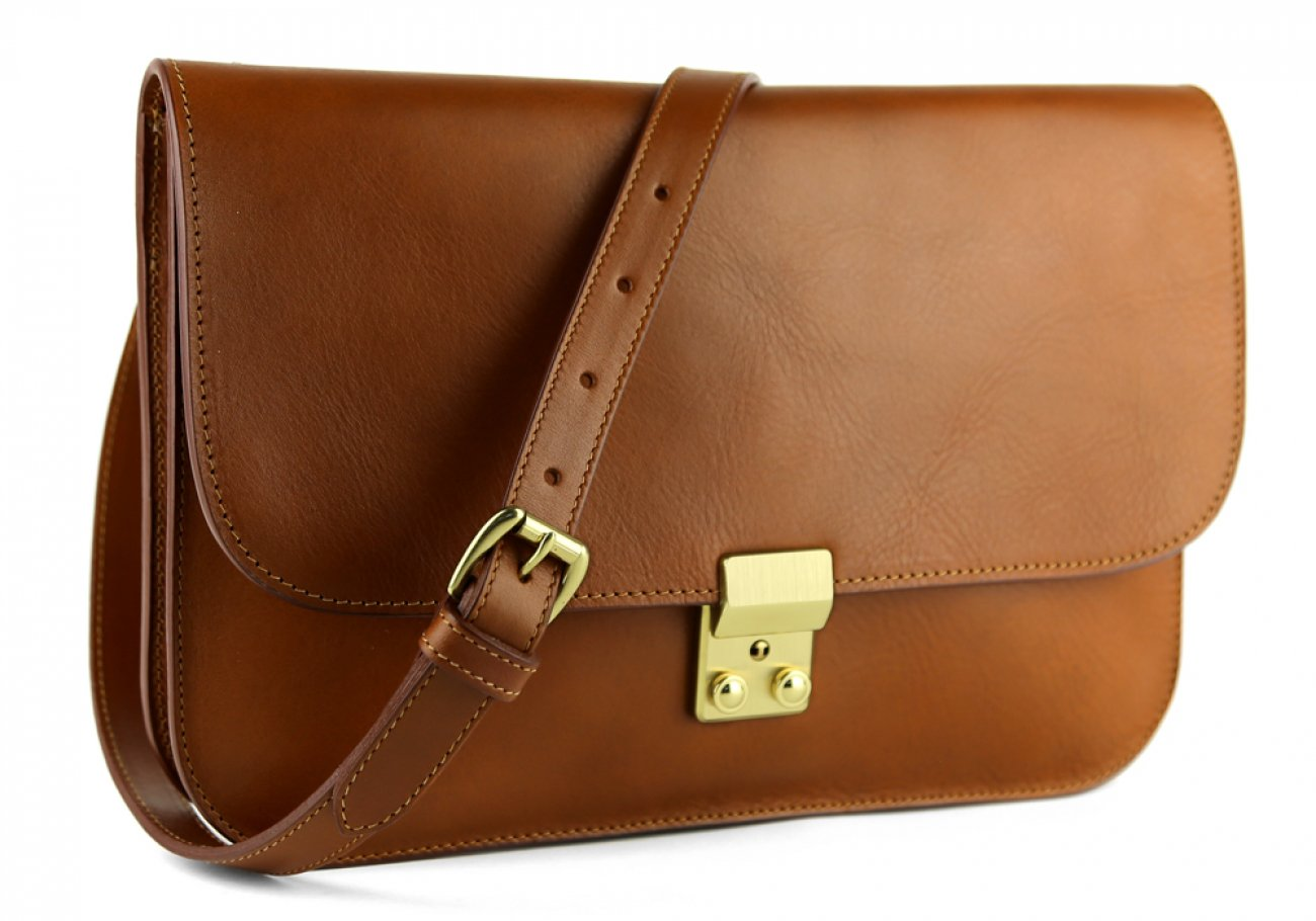 Cognac Lock Clutch Frank Clegg Made In Usa 3