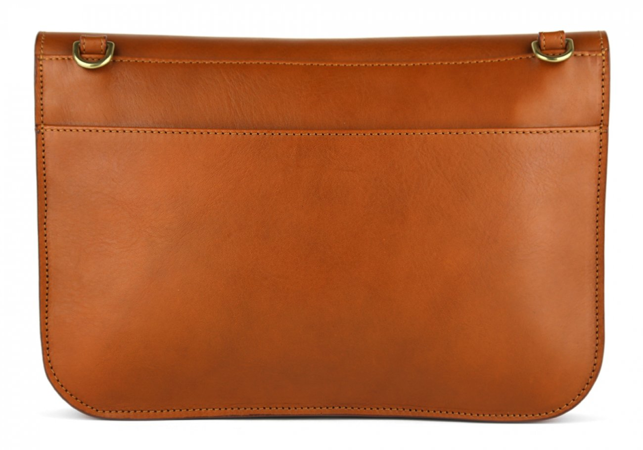 Cognac Lock Clutch Frank Clegg Made In Usa 4