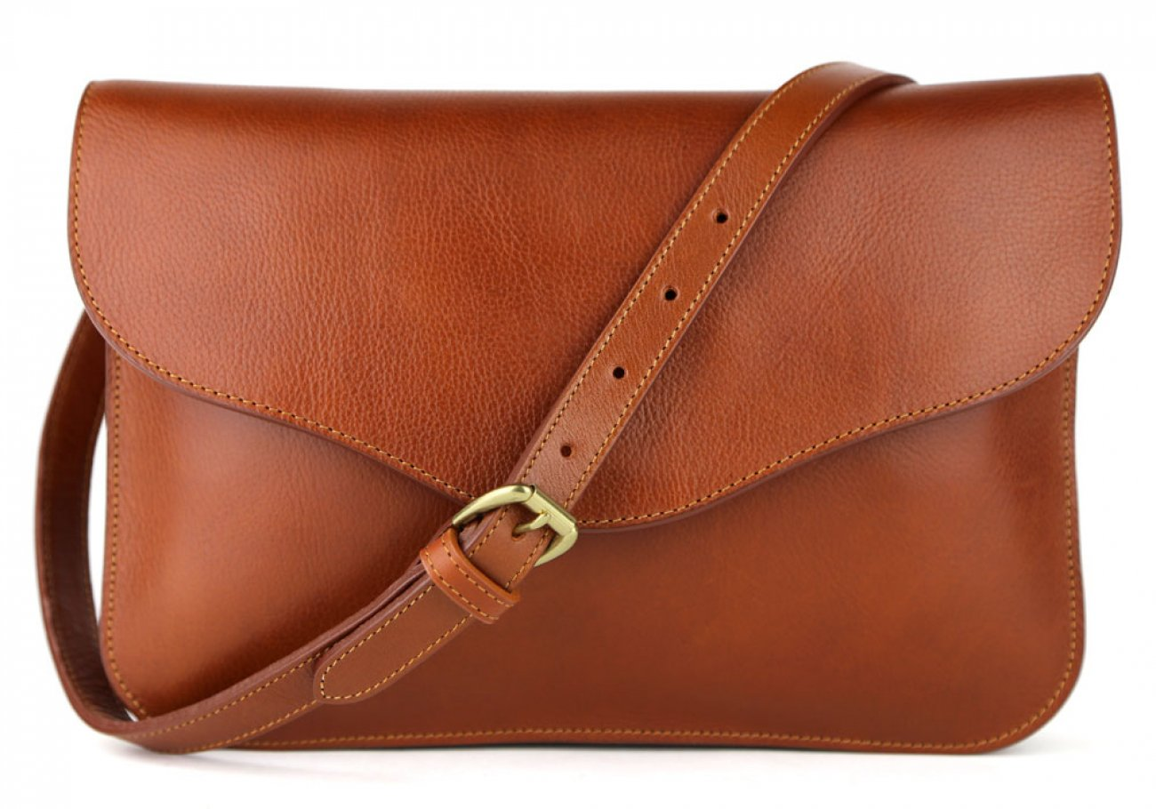 Cognac Maddie Shoulder Bag Frank Clegg Made In Usa 1